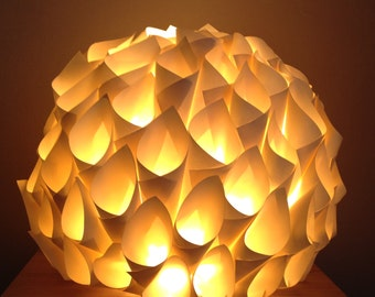 Lamp table/night light in paper color ecru/ivory/cream/off-white