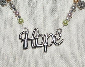 """Pastel Beaded Necklace With Flower Charms and """"Hope"""" Pendant"""