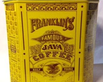 1970s Vintage Franklin's Famous Java Coffee Tin