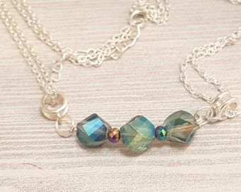 Multicolored Crystal one bar necklace
