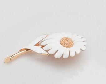 White enamel flower brooch