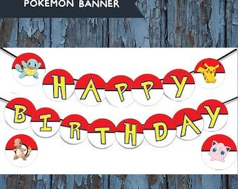 Pokemon,pokemon birthday, pokemon party, pokemon birthday banner, pokemon banner, pokemon printable, pikachu, pikachu banner, party supplies