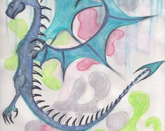Winged Blue Dragon Abstract-Digital Print