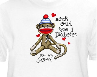 "Sock Out Type 1 Diabetes ""For MY SON"" T-Shirt Juvenile Diabetic Tee"