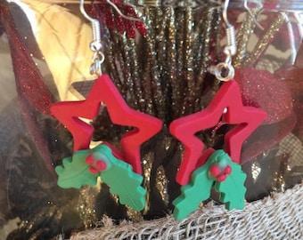 Christmas red star ,handmade polymer clay earrings