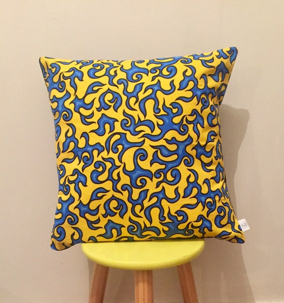 Blue and yellow swirl cushion cover, eyecatching. 45cmx45cm