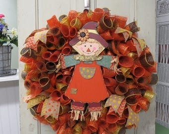 Fall Wreath, Scarecrow Wreath, Fall Decor, Fall Decorations, Orange Burlap, Polka Dot, Thanksgiving Wreath, Thanksgiving Decor