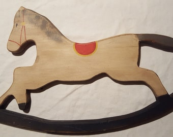 Hand painted Wood Folk Art Rocking Horse Wall Hanging