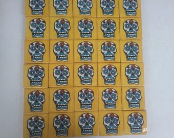 Mexican Day of the Dead tiles x 30 ( 5cm x 5cm each