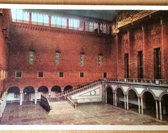 """Near Mint Stockholm SWEDEN Stadshuset, """"The Blue Hall"""" Real Photo Postcard Colored"""