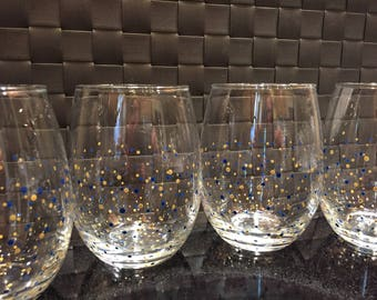 Polka Dot Stemless Wine Glasses - Set of 4 - Gold & Navy Blue - Ready to Ship!