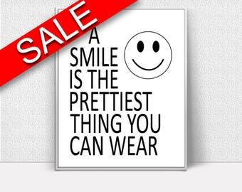 Wall Decor Smiley Printable Smile Prints Smiley Sign Smile Dentist Art Smile Dentist Print Smiley Printable Art Smiley Black And White Smile