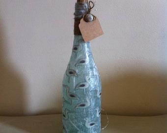 Beautiful Handcrafted Battery Operated Bottle Lamp With Seagull Design Unusual Gift