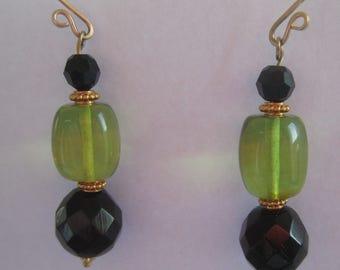 Rare Green Amber Barrel Beads, Black Faceted Czech Glass Beads, 14k GF handmade ear wires