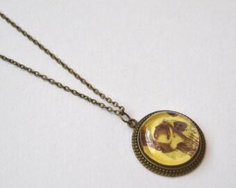 bronze skull necklace