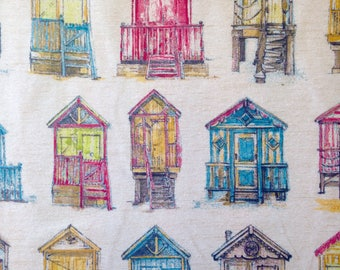 Hand Drawn Style Beach Hut Fabric