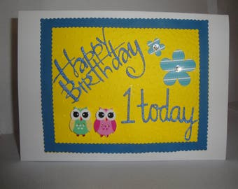 Happy Birthday 1 today greeting card with owls and flowers