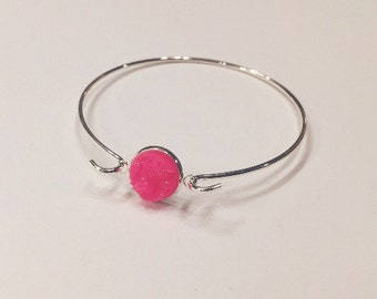 Druzy Bracelet - Hot Pink