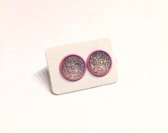 Druzy Earrings  - Pink Sparkle