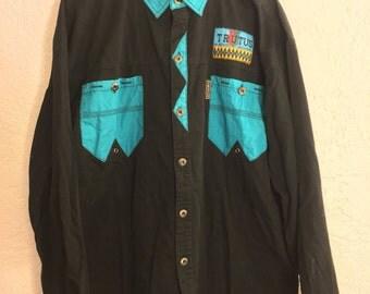 Trutus Button-up Polo Colorblock Shirt