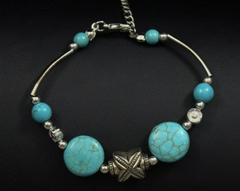 Imitation Turquoise and Antique Silver Bracelet