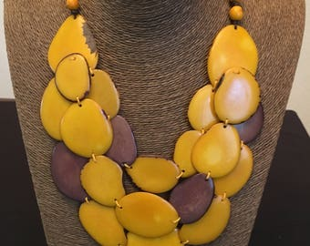 50% Off / Yellow Tagua Statement Necklace / Organic Jewelry / Tagua Jewelry / Tagua Necklace / Statement Necklace / Tagua Nut Jewelry