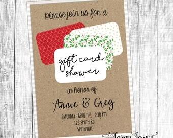 Couples Shower Invitation, Engagement Shower Invitation, Customized Shower Invitation, Customized Couples Invitation, Gift Card Shower