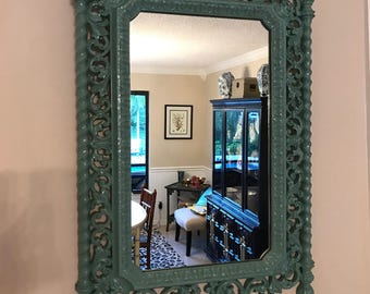 Vintage Turquoise Ornate Mirror- Chinoiserie- Home Decor- Wall Art- Palm Beach Regency- Rustic Home Decor