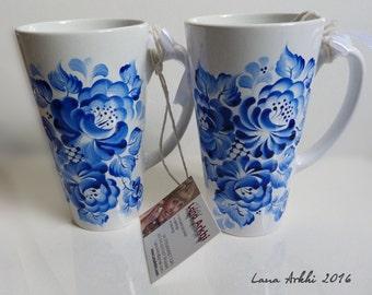 Large latte mug Hand painted Blue and white 17OZ rare unique