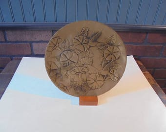 Vintage Solid Bronze Plate with Wooden Stand