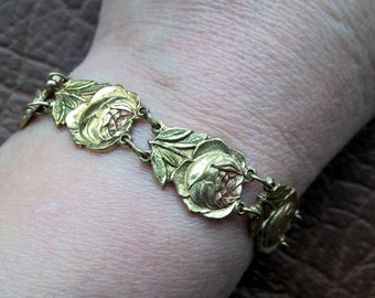 1920's Antique Brass Rose Green Burgundy Enamel Bracelet