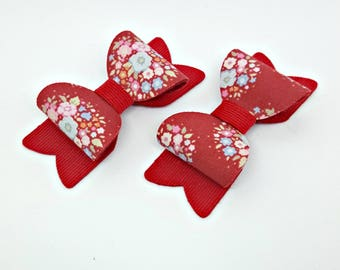 Small Red Floral Blossom Bow