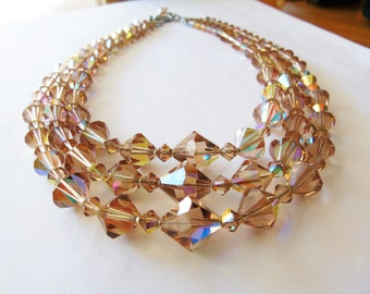 Vintage Chanpagne Swarovski Crystal three strand necklace