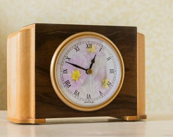 Upcycled vintage wooden desk clock