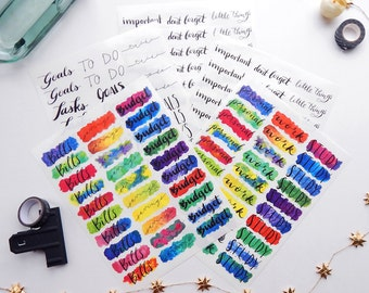5 Sheet Planner or Bullet Journal Sticker Work Kit - Vibrant Water Color Transparent Glossy Stickers to Plan Your Day at Work (K8)