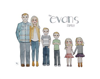 Illustrated Family Portrait, Custom Portrait, Family Drawing, Custom Gift, Family Gift, Watercolor Family Painting