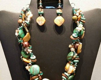 Green Taupe and Brown 3 Row Braided Necklace Set