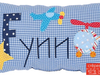Crepes Yogendra pillow with names, name cushions helicopter, airplane