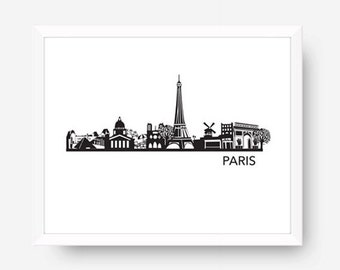 paris skyline art print paris printable art black u0026 white wall art paris