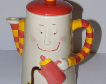Adorable RARE Vintage Coffee Pot -coffee pouring coffee! Clay Art Java Joe San Francisco -Priority Shipping MORE coffe and teapots n shoppe!