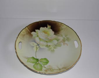 Cake Serving Plate - Roses - Made in Germany - open handles - piereced handles - cutout handles - Priority Shipping!! MORE VTG n Shop!