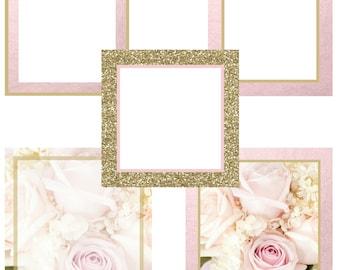 Premade, Social Media, Templates,~Instagram/Facebook~Pink~White~Floral~Gold Glitter