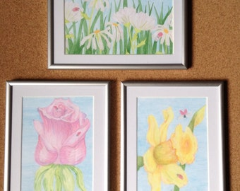 Original painted flowers, rose, daisies, daffodil and ladybugs - priced individually