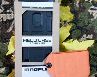 Samsung Galaxy S5 Kydex Cell Phone Holster with Black Magpul Field Case - Hunter Orange