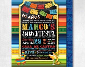 Digital Fiesta 40th Birthday Invitations, Paper Flags Fiesta Invitation, Mexican Fiesta 40th Birthday Invitations, Fiesta Theme, DI-3008FC
