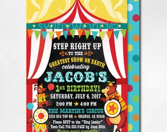 Vintage Circus Birthday Invitations, Printed Carnival Circus Invites, Circus theme Birthday Invitations, Vintage Circus 1st Birthday, DI393