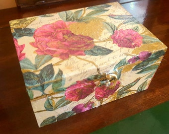 Romantic  tea/ jewellery box decoupage