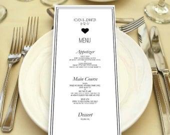 Printable Wedding Menu - Wedding Menu - Editable Menu - Menu Template - Reception Dinner Menu - Wedding Dinner - Editable Text - PDF
