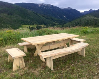 Custom Made Beetle Kill Pine Picnic Table with Benches