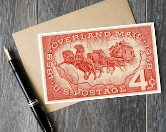 moving announcement cards, retirement gift cards, antique western art cards, history birthday cards, Overland Mail, US postage history cards